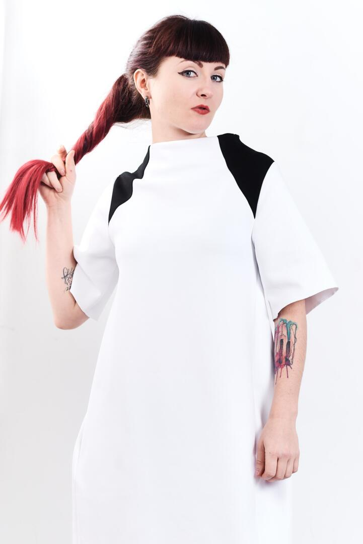Kati black and white dress by fuenf 0063