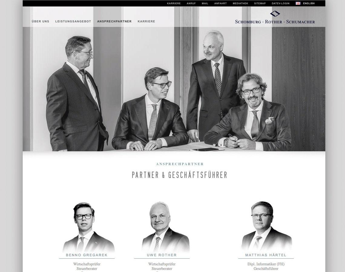 SCHOMBURG ROTHER SCHUMACHER | Business Portrait & Image Foto auf Webseite in Anwendung